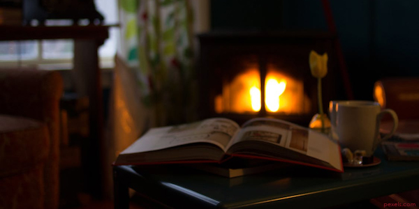 fireplace and book